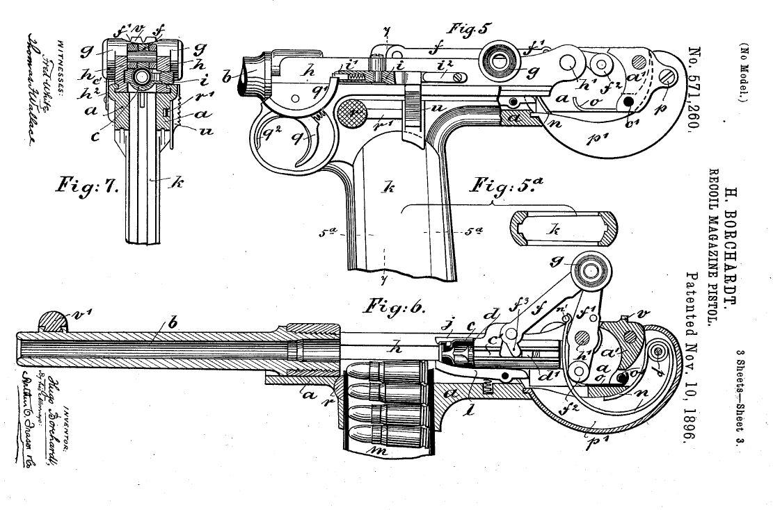 hight resolution of borchardt c 93 pistol patent diagram