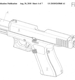 glock 46 pistol patent diagram showing new disassembly control at the back of the slide [ 1024 x 840 Pixel ]