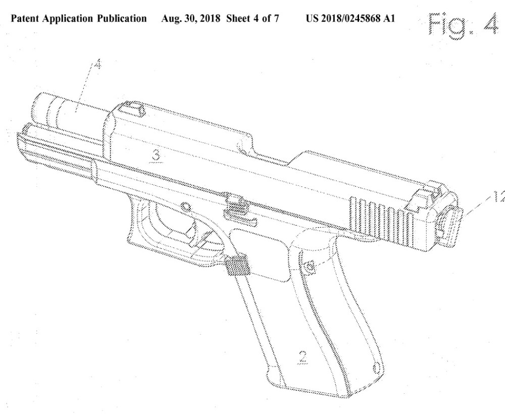 medium resolution of glock 46 pistol patent diagram showing new disassembly control at the back of the slide