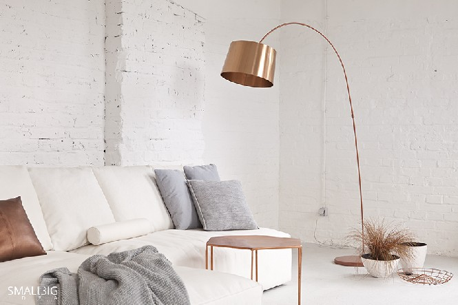 Home Decor Explosive Mix Copper Floor Lamps And Pink Details