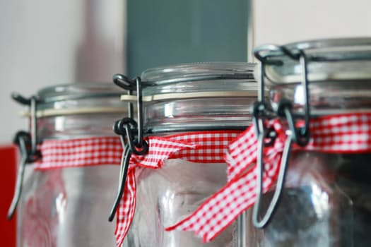 Mason jars with ribbon