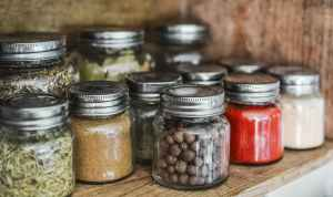 Dried spices in glass mason jars
