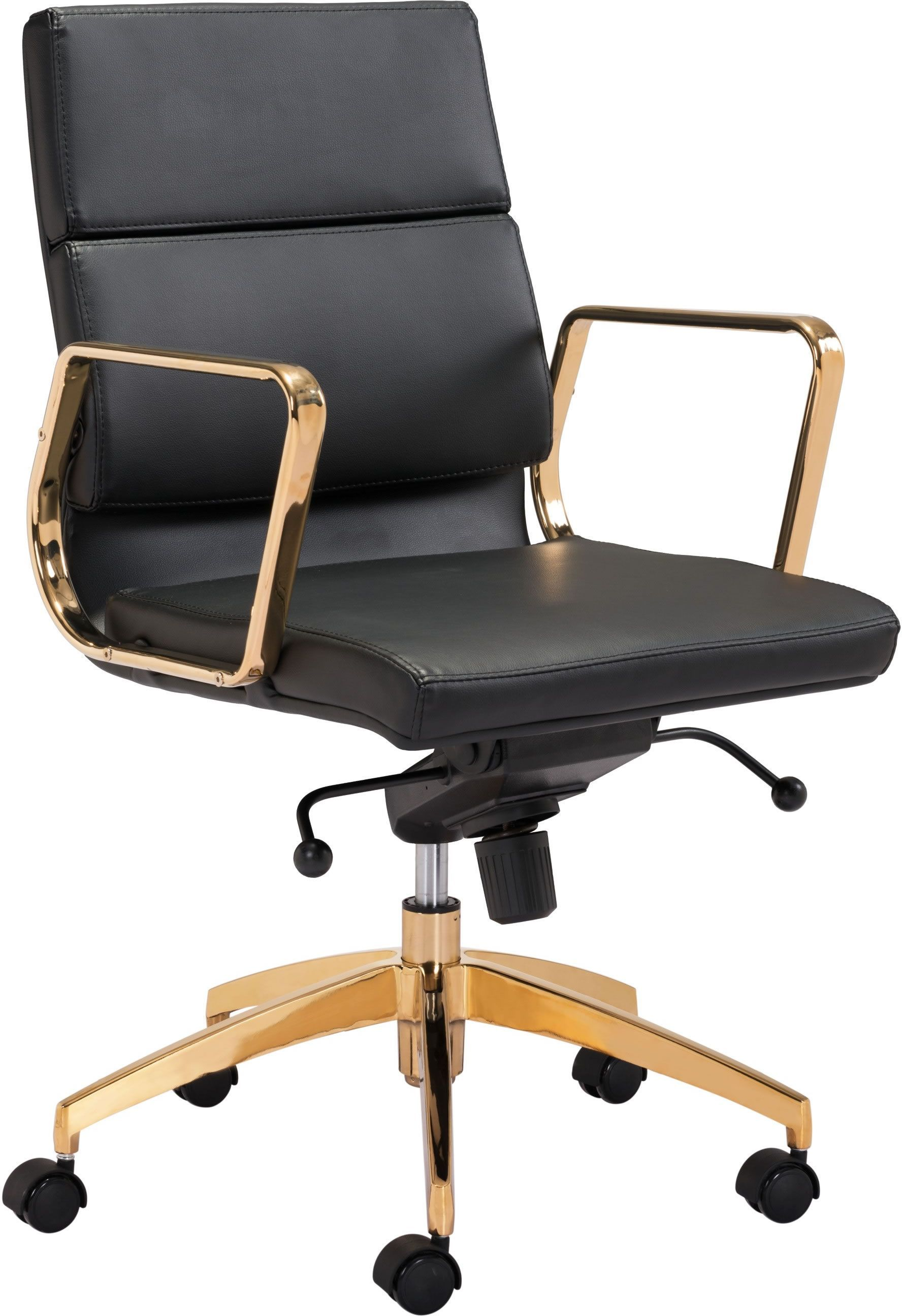 Low Back Office Chair Scientist Low Back Office Chair Black Gold