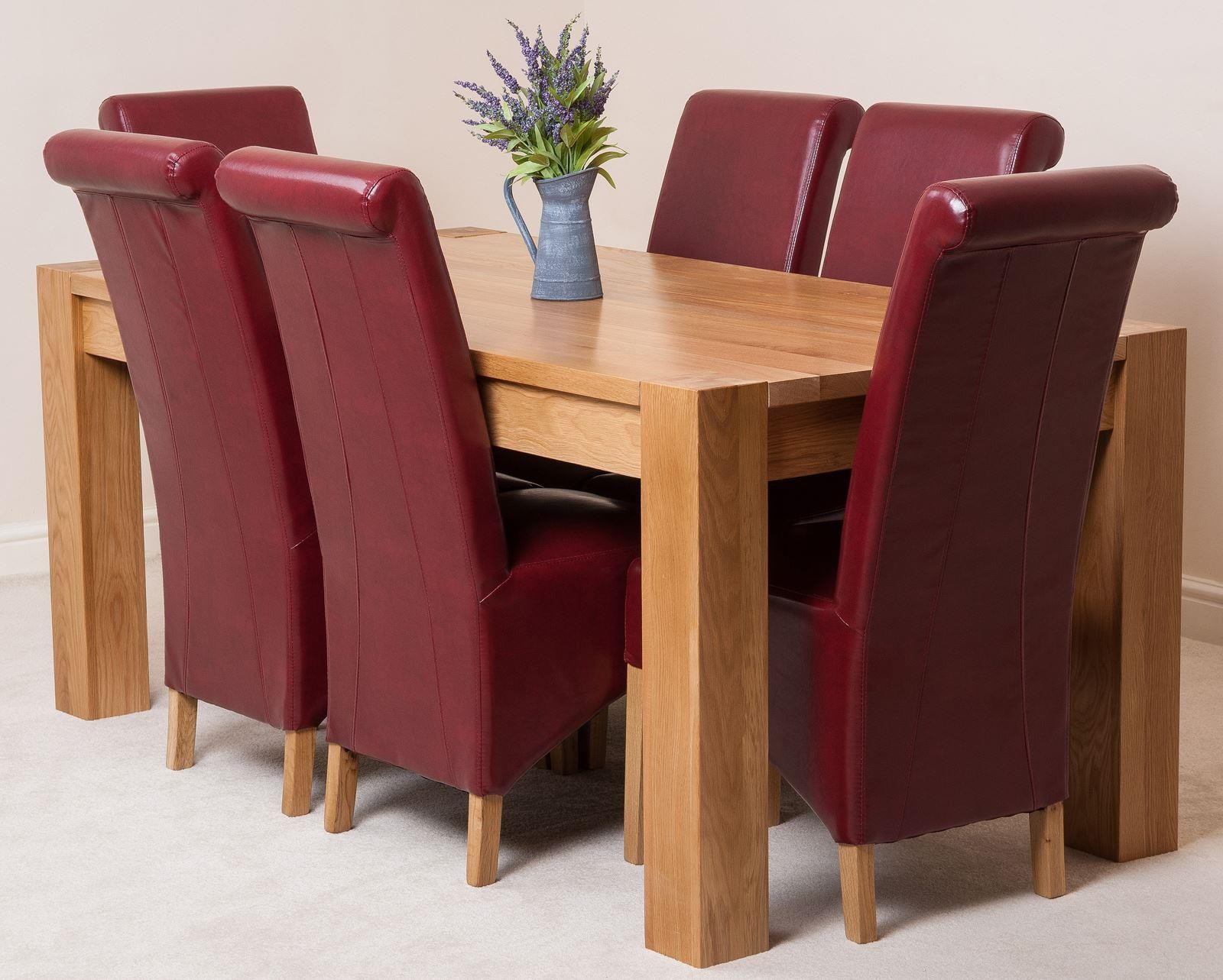 Red Leather Dining Room Chairs Kuba Oak Dining Table With 6 Ivory Lola Dining Chairs