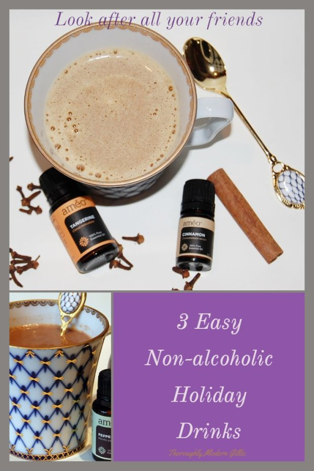 3 easy nonalcoholic holiday drinks, www.moderngillie #ameo #holiday #holidaydrinks #beverages #holidaybverages #essentialoils #cookingwithessentialoils #essentialoilfun