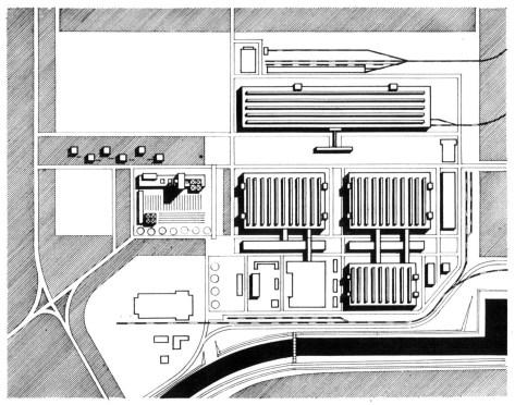 A közúti futőműgyártás és tehervagongyártás tervezett új gyáregyüttese, 1965 k. (forrás: GYŐRITERV-es publikáció)