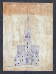 A Győr-Nádorvárosi Evangélikus templom pályaterve, főhomlokzat. Sándy Gyula, 1940. (forrás: © Ráth Mátyás Evangélikus Gyűjtemény, Győr)