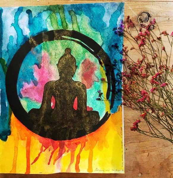 abstract buddha, weesak painting, buddha's blessings