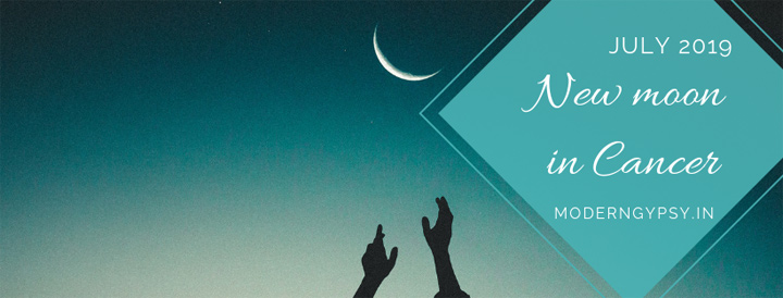 Hands reaching up to the crescent (new) moon in Cancer the night sky.