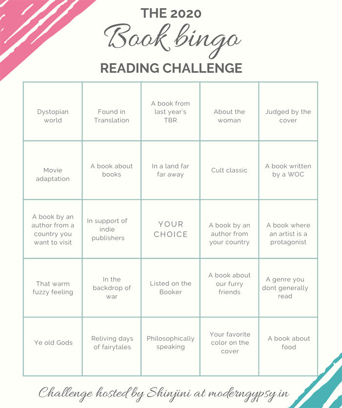 The 2020 book bingo reading challenge prompts