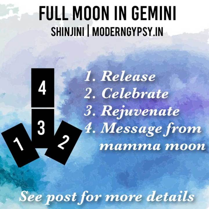 Tarot spread and journaling questions or the December 2019 full moon in Gemini