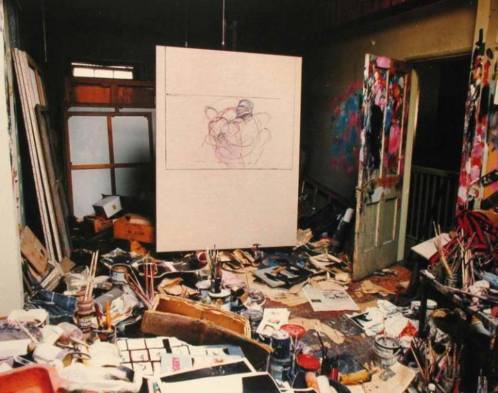 Francis Bacon's art studio. cluttered studio and the impact of a messy studio on creativity