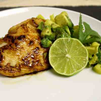 Pan Fried Honey-Lime Chicken with Spicy Pineapple-Avocado Relish