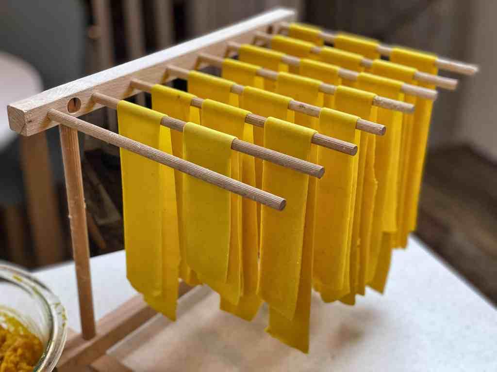 handmade pumpkin pasta hanging