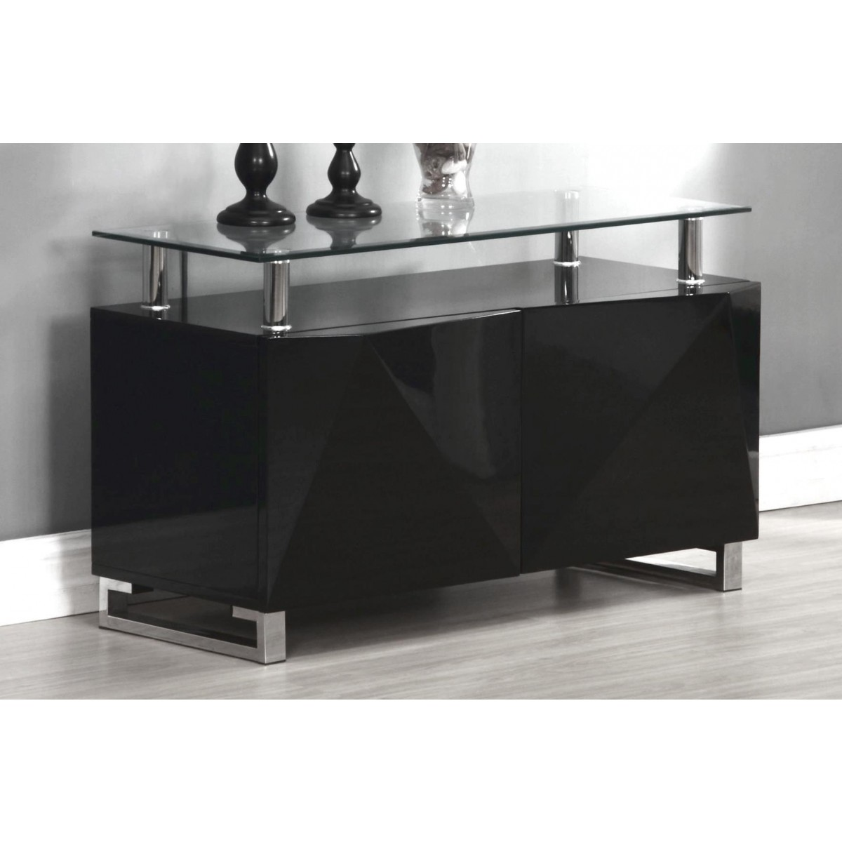 Sideboard Modern Modern Home - Regis Black High Gloss Sideboard 2 Doors - Free Next Day Delivery