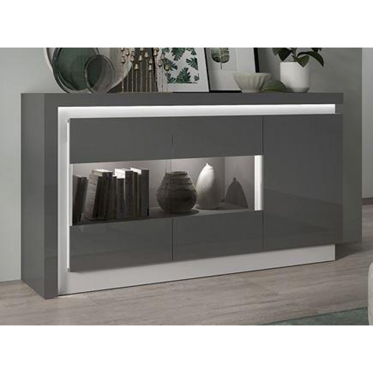 Sideboard Modern Modern Home - Lyon 2 Door 3 Drawer Sideboard Grey Gloss - Free Next Day Delivery