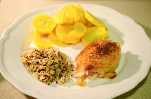 baked chicken plated