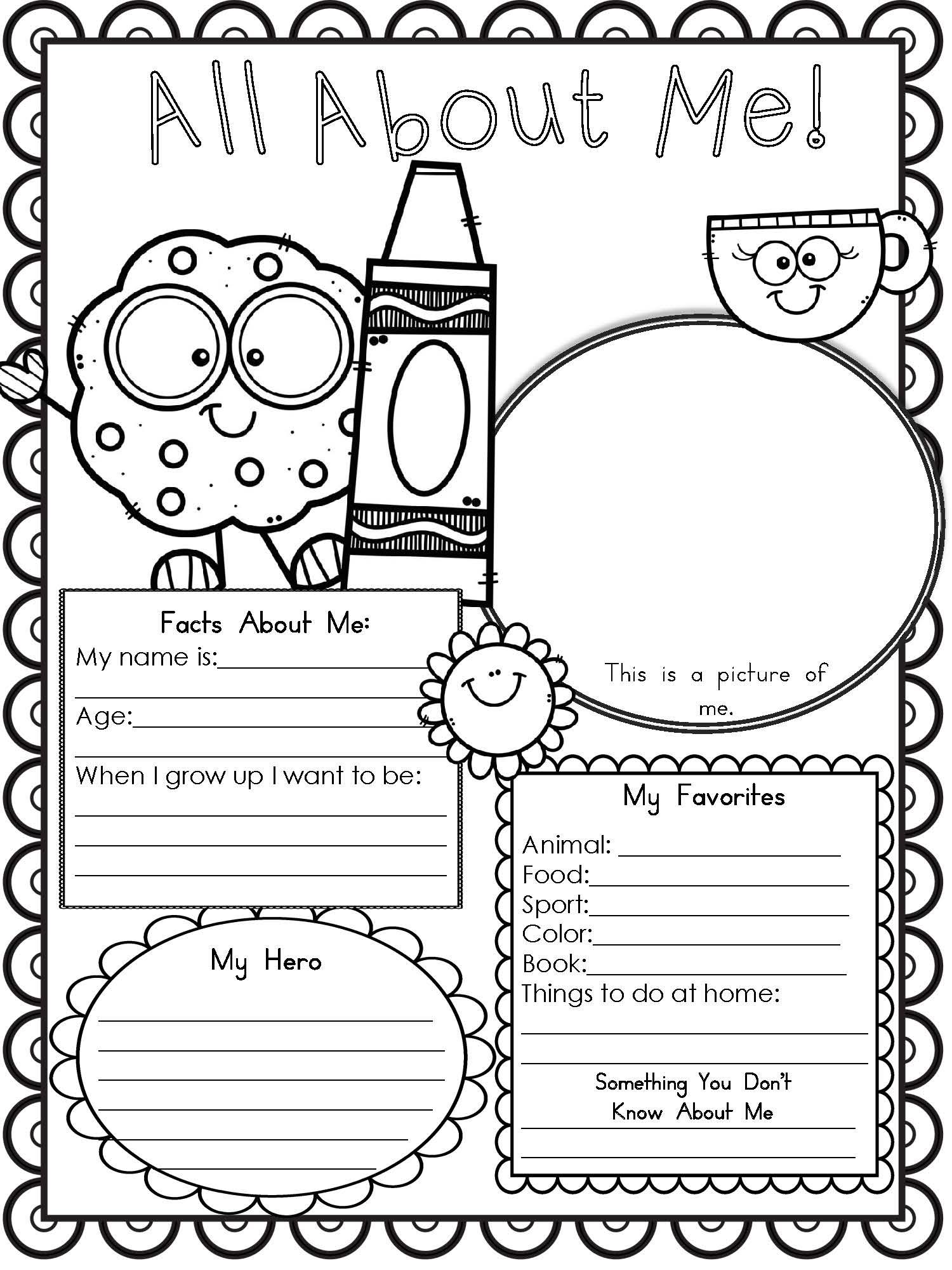 All About Me Worksheet Preschool