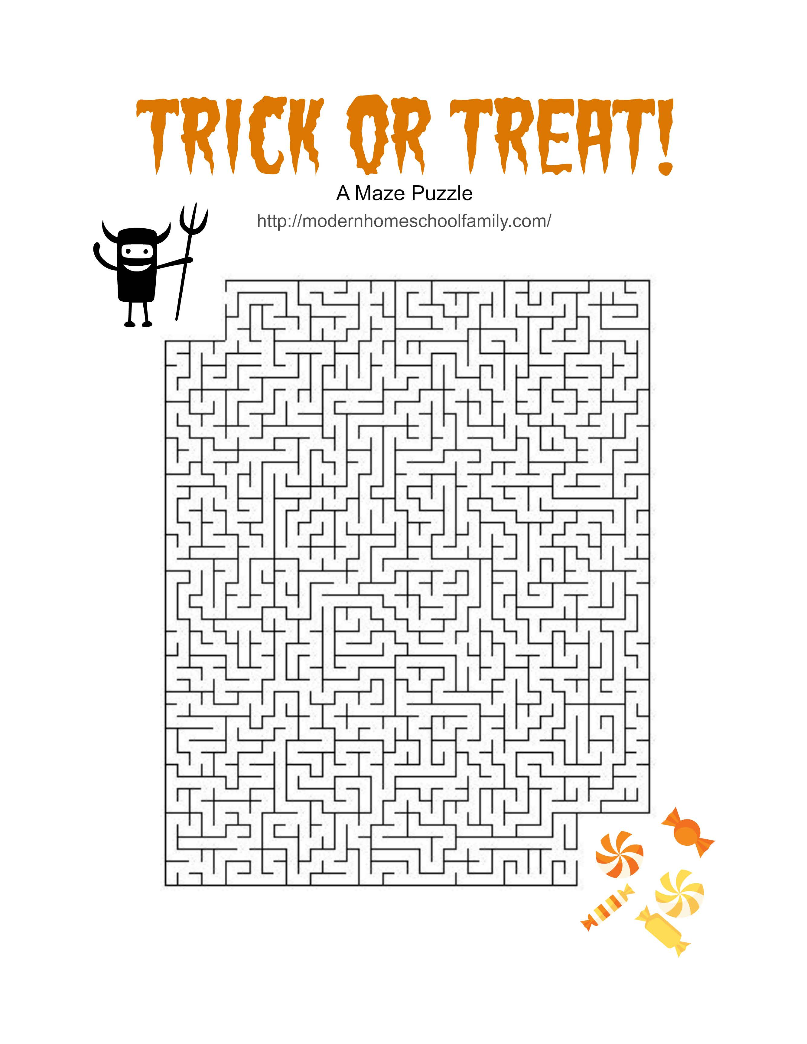 Free Printable Halloween Activity Sheets For Elementary