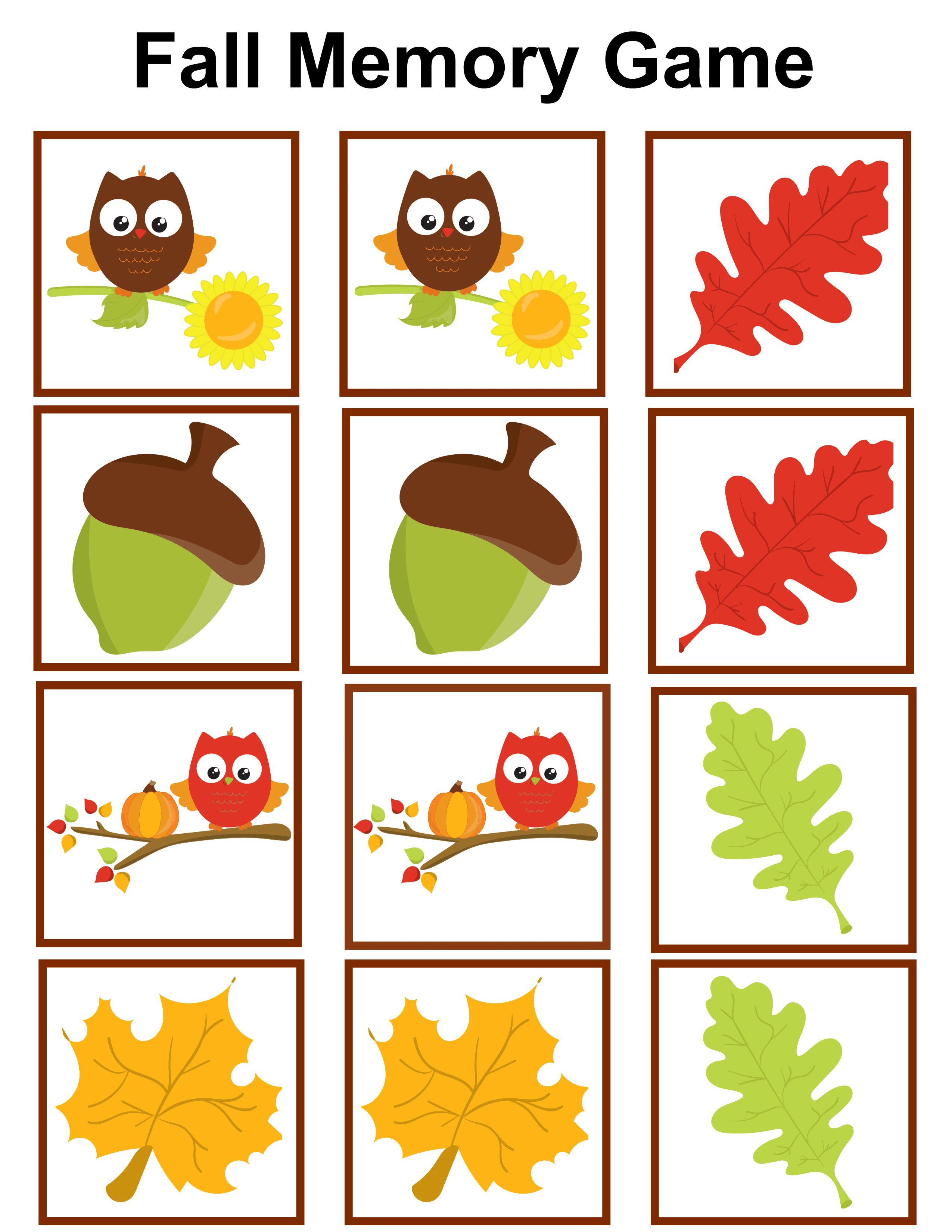Autumn Themed Printable Worksheets