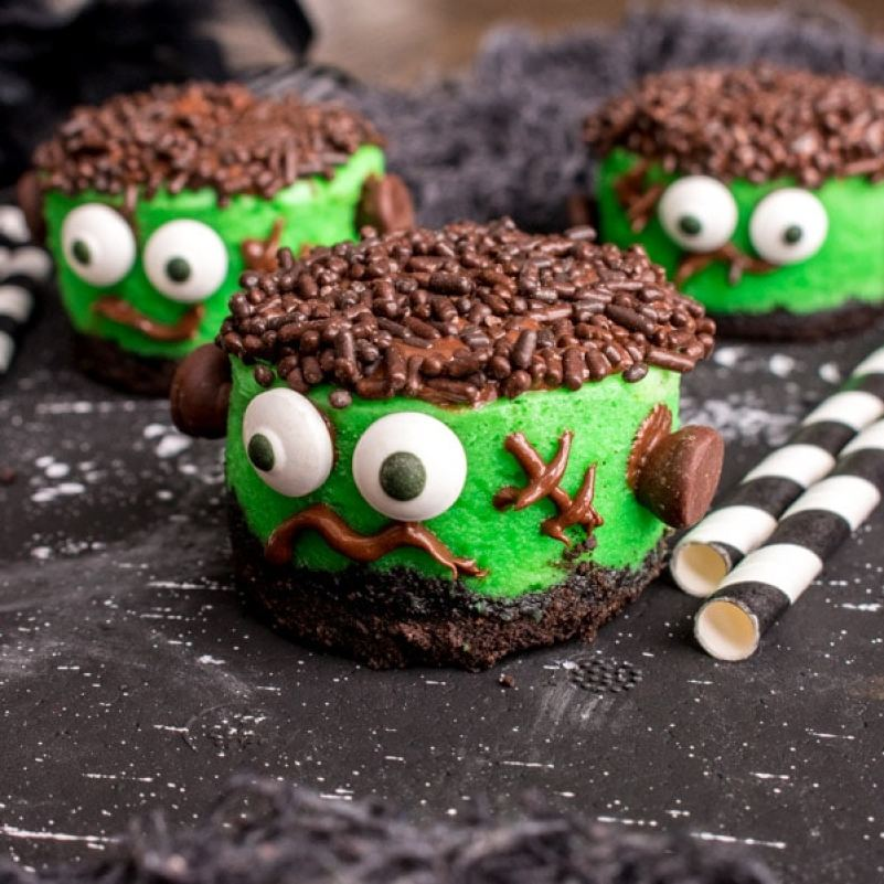 Mini Frankenstein Cheesecakes