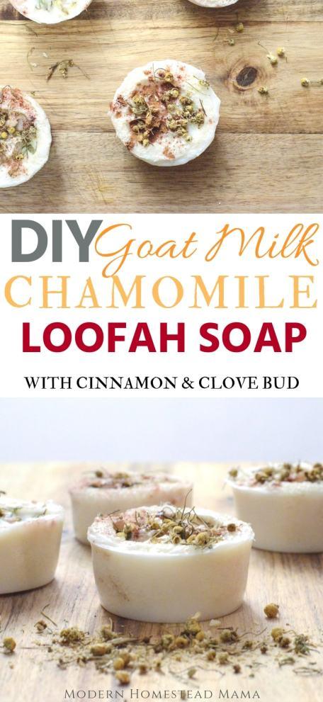 DIY Goat Milk Chamomile Loofah Soap