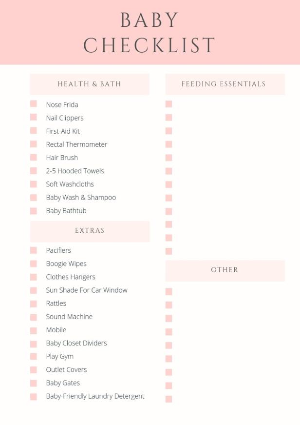 Baby Checklist PDF Printable