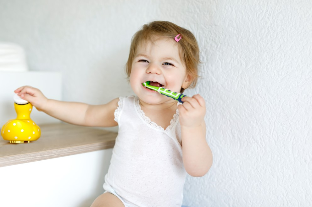 2-Year-Old Brushing Teeth By Herself