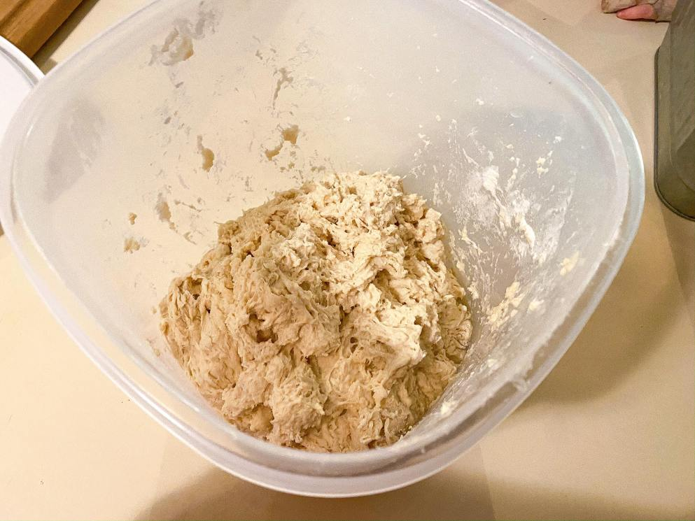No knead bread dough after being mixed