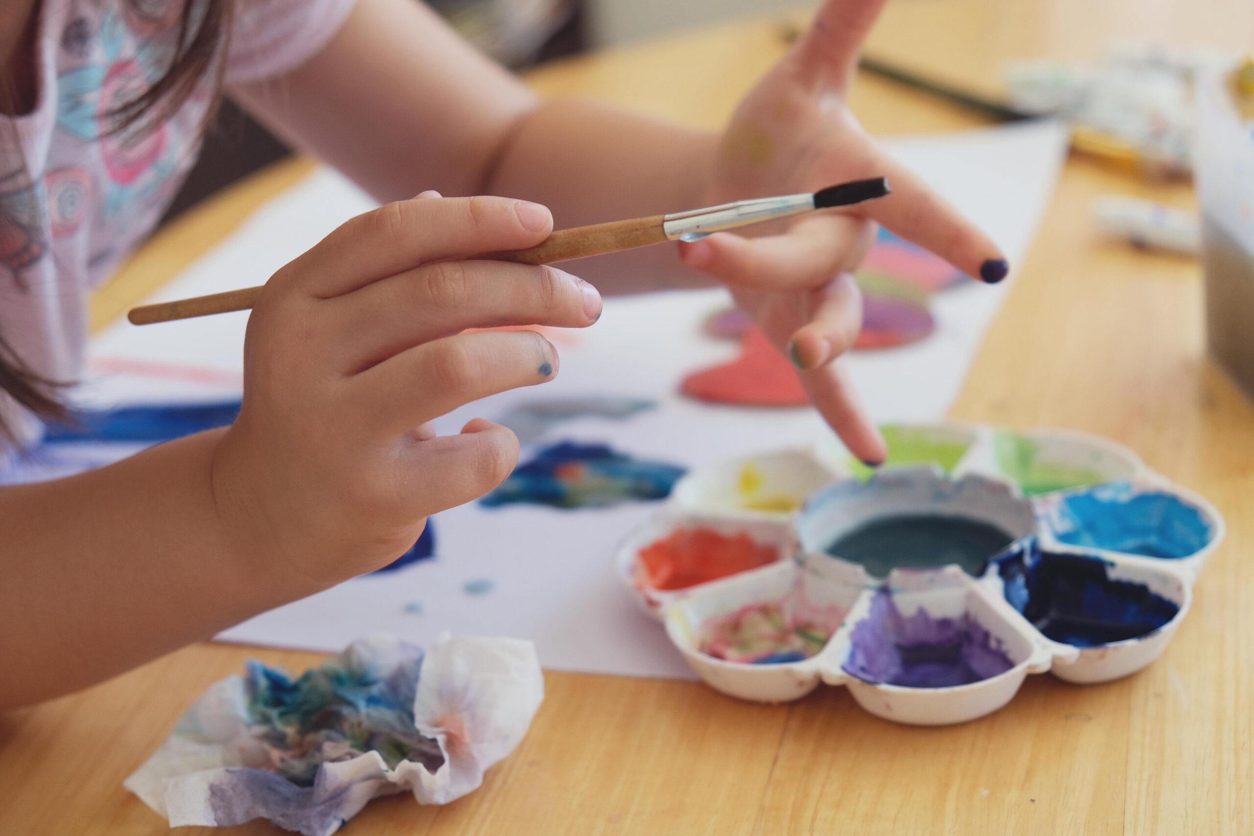 Homeschool Preschooler Playing with Paint