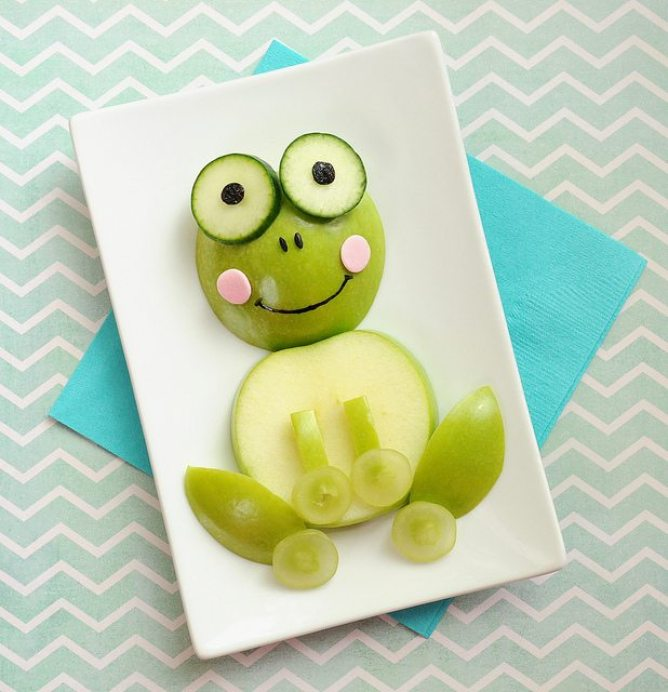 Kids Apple Food Art Frog