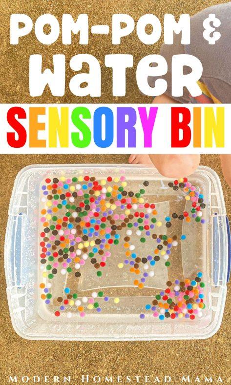 Pom-Pom Water Sensory Bin | Modern Homestead Mama