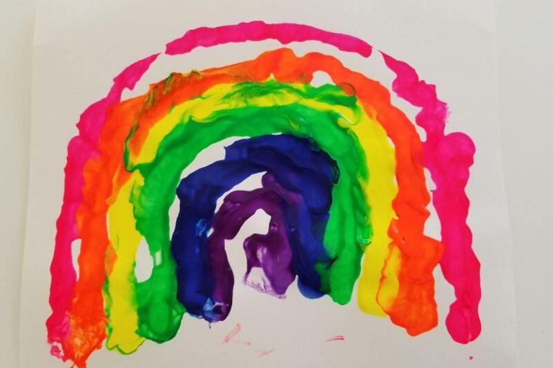 Rainbow Blow Painting