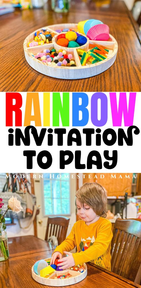 Rainbow Playdough Kit Invitation to Play | Modern Homestead Mama