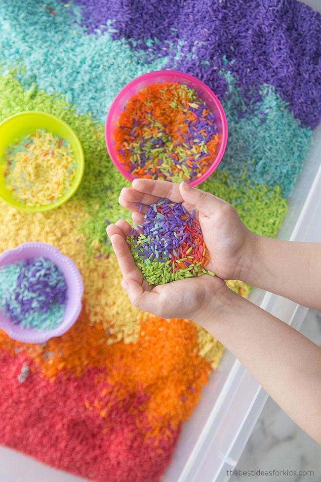 Rainbow Sensory Rice