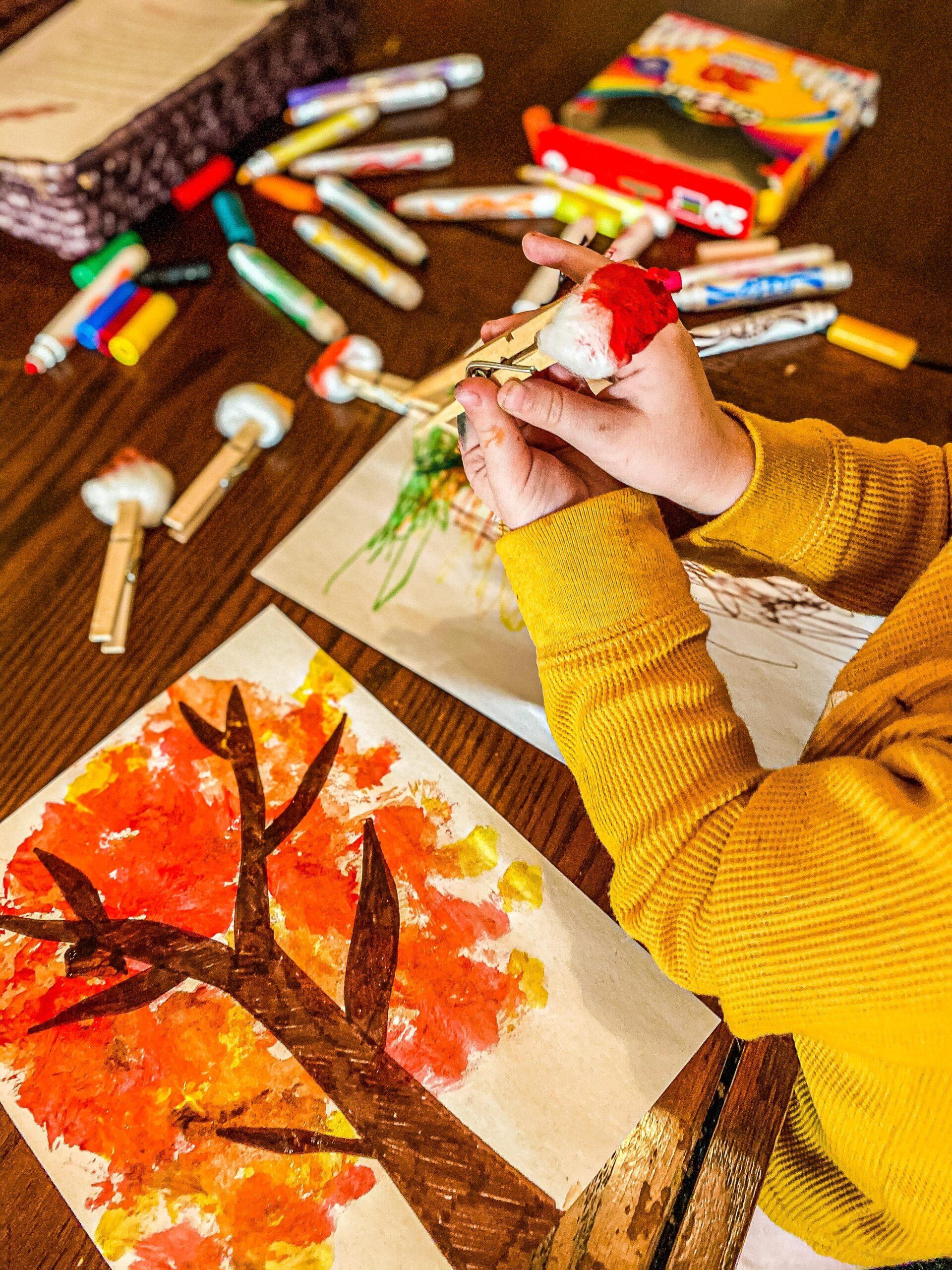 Autumn Tree Cotton Ball Painting Craft