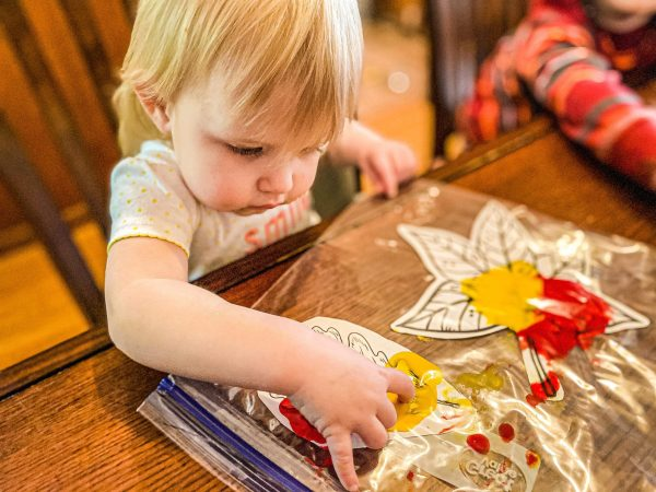 Mess-Free Fall Leaf Sensory Painting for Toddlers