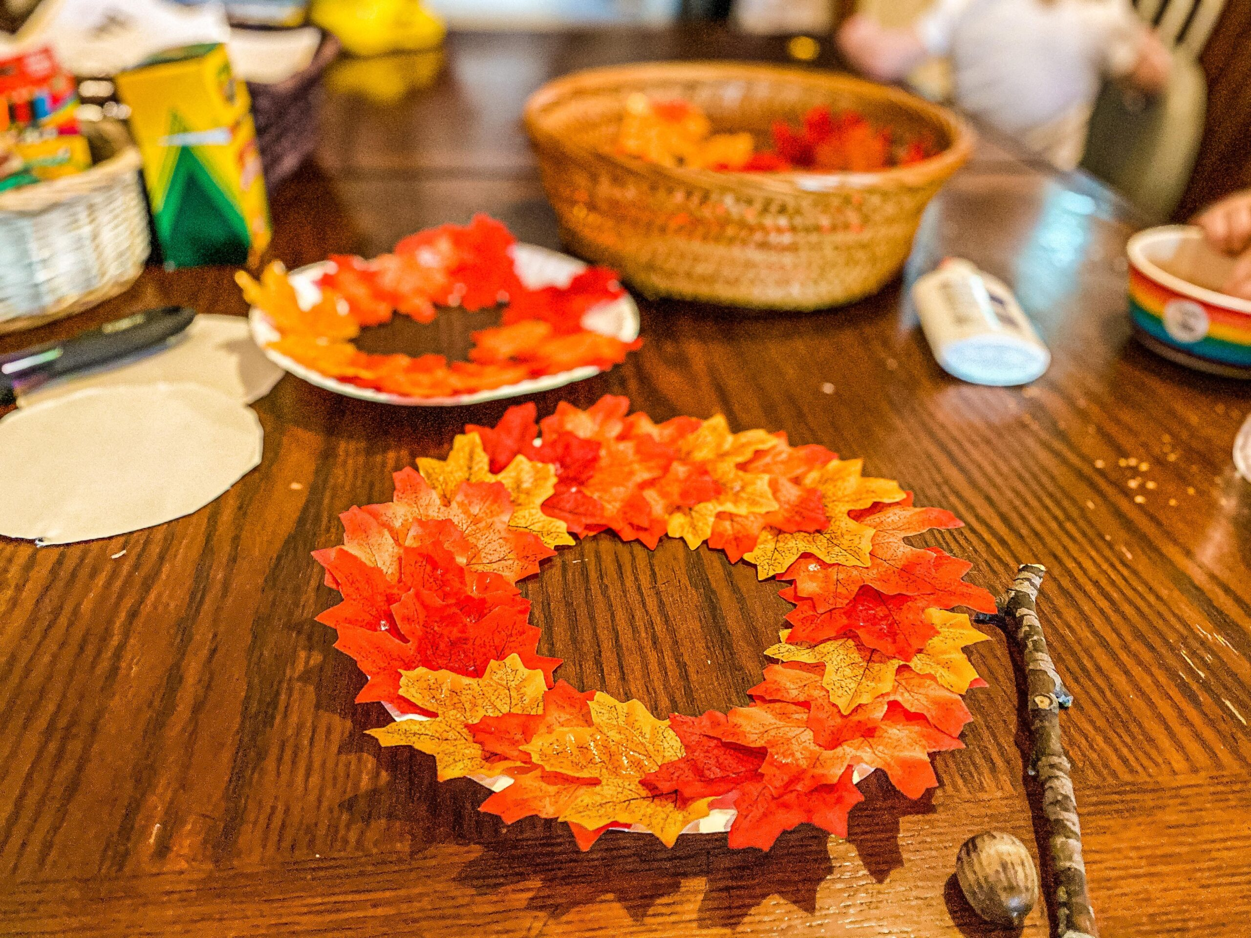 Fall Paper Plate Wreath Craft