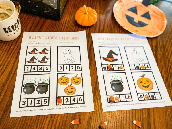 Halloween Count & Clip Cards