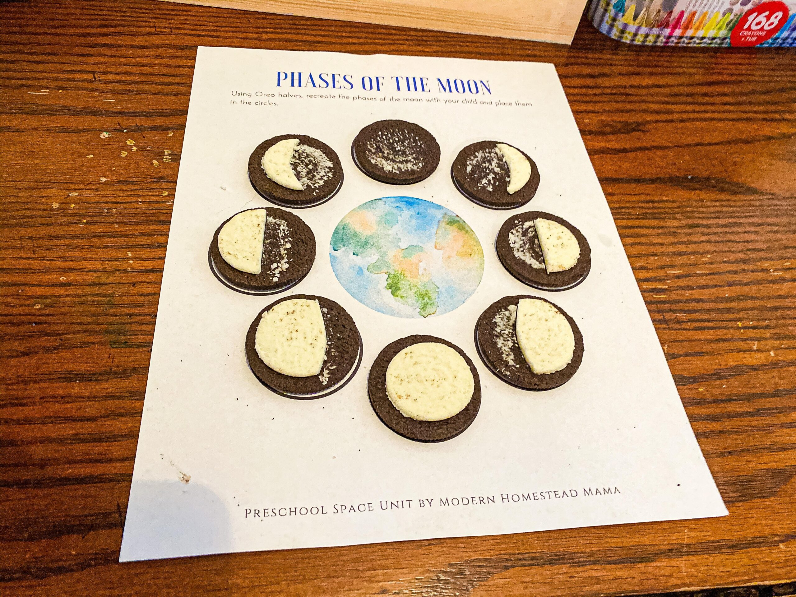 Moon Phases Oreo Worksheet for Preschoolers