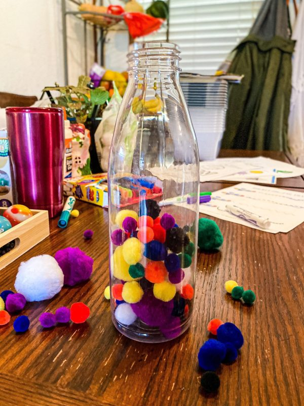 Pom-Pom Ball Bottle Drop Toddler Fine Motor Activity