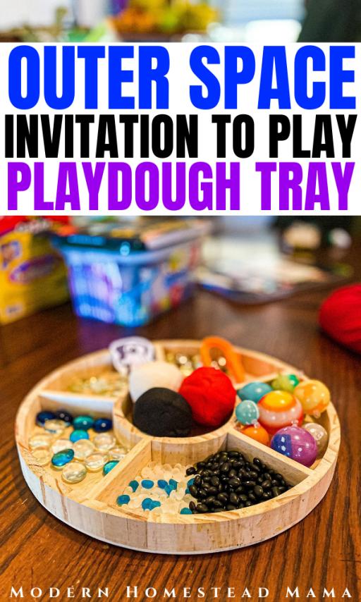 Space Playdough Invitation to Play Tray | Modern Homestead Mama