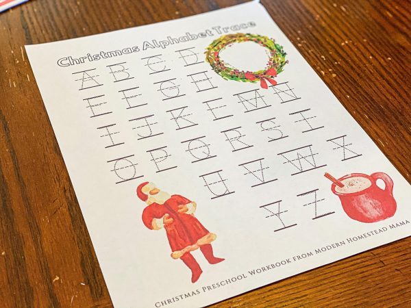 Christmas Alphabet Trace from Workbook