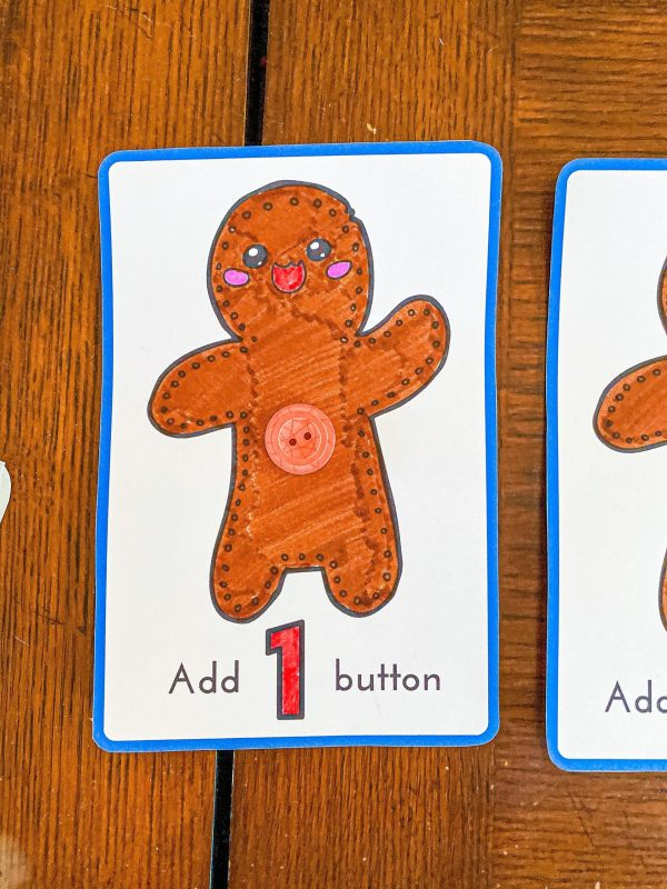 Gingerbread Man Button Counting Printable