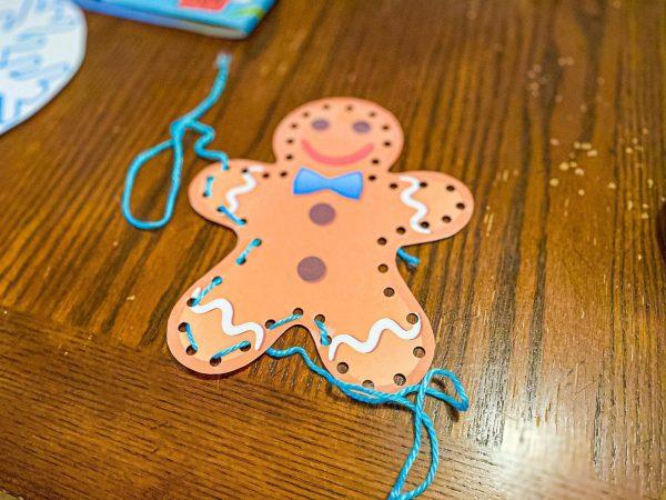 Gingerbread Man Lacing Fine Motor Activity for Preschoolers
