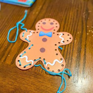 Gingerbread Man Lacing Fine Motor Activity for Preschoolers