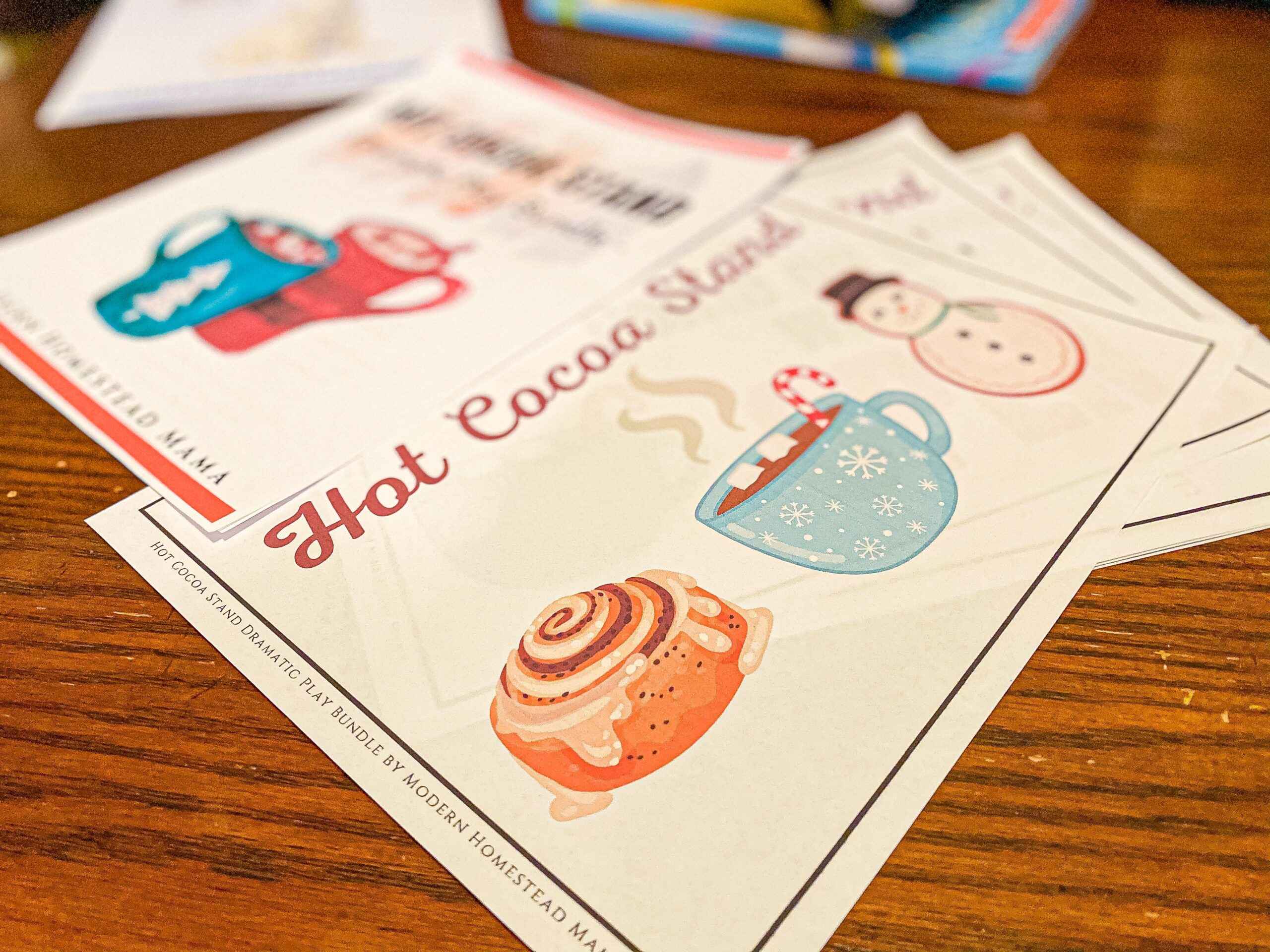 Hot Cocoa Stand Dramatic Play Printable Bundle for Kids