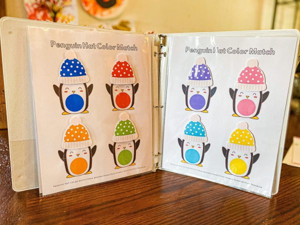 Penguin Hat Color Match Printable for Toddlers
