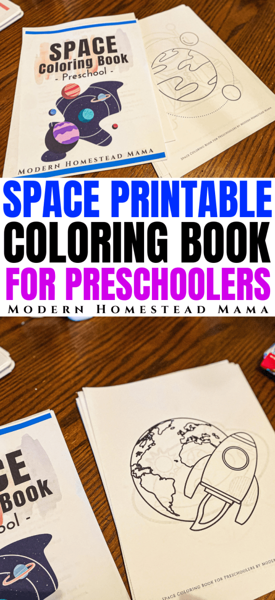 Space Coloring Book for Preschoolers | Modern Homestead Mama
