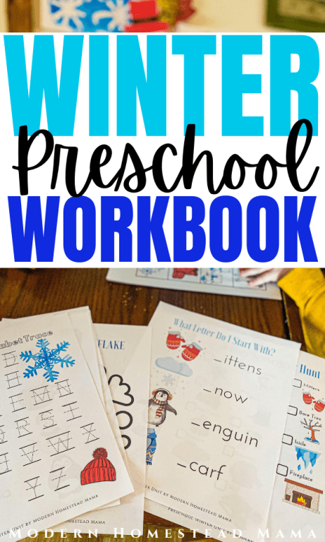 Winter Preschool Workbook | Printable Homeschool Pre-K Workbook | Modern Homestead Mama